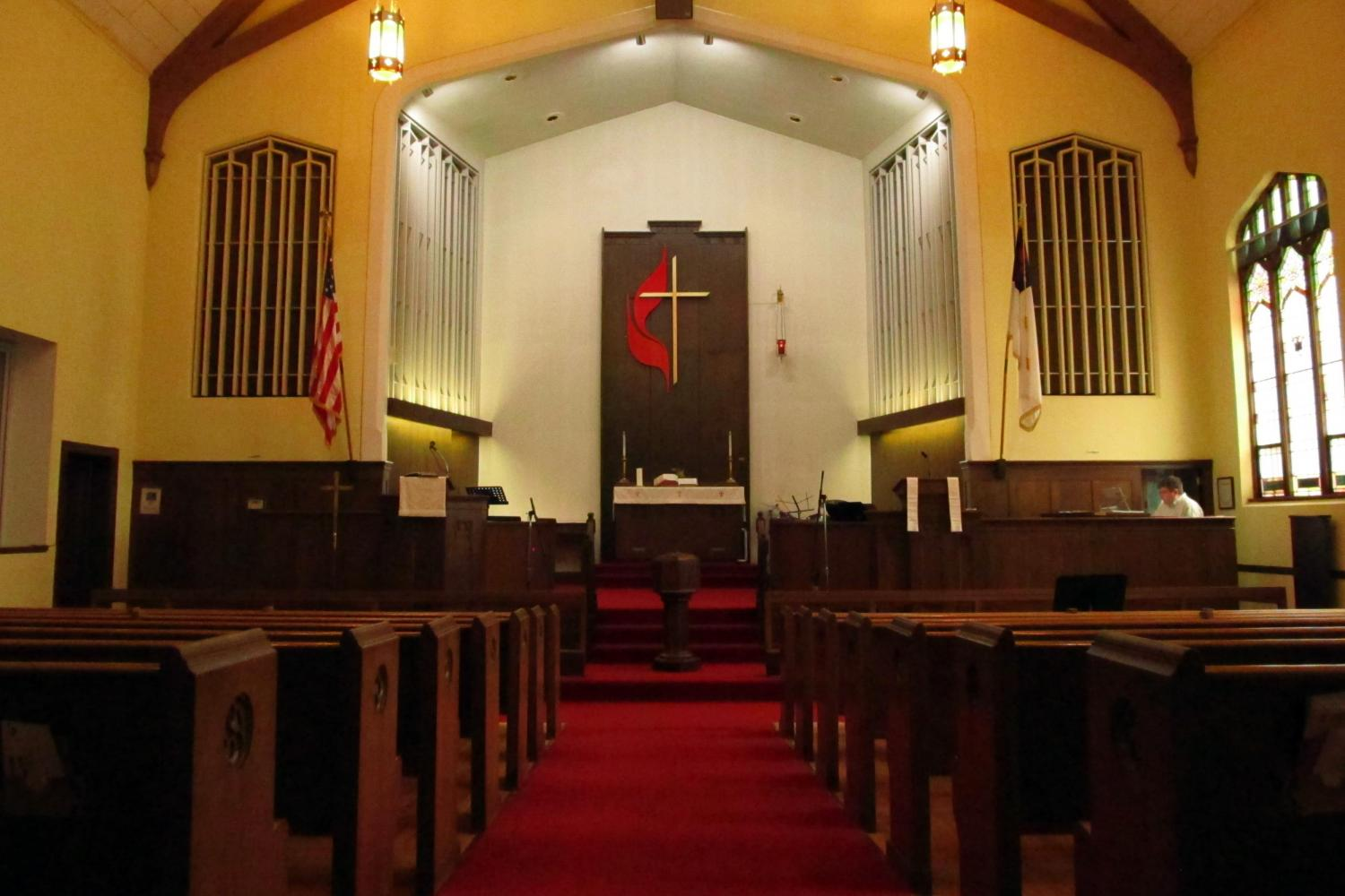 Pews, sanctuary, cross, UMC, United Methodist Church