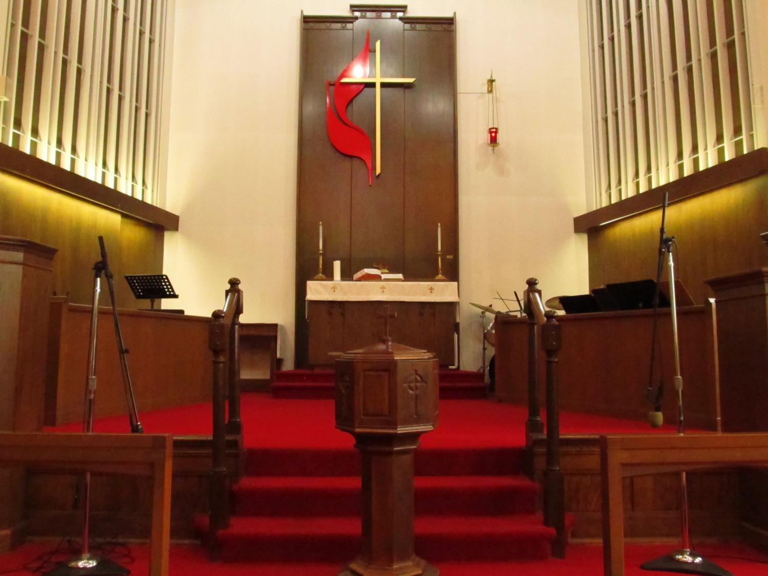 Baptism, Font, Cross, UMC, United Methodist Church, Sanctuary