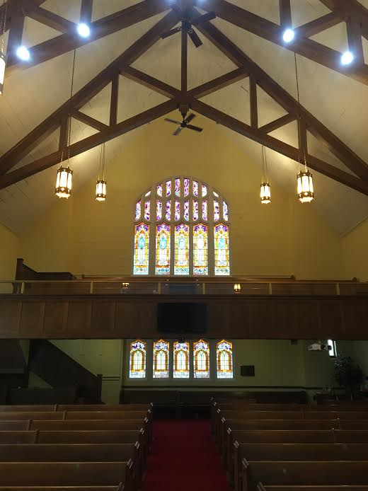 Sanctuary, Church, Balcony, Pews, Stained Glass